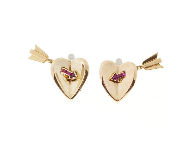 14K Yellow & White Gold with Blood Red Ruby Arrow Heart Earrings