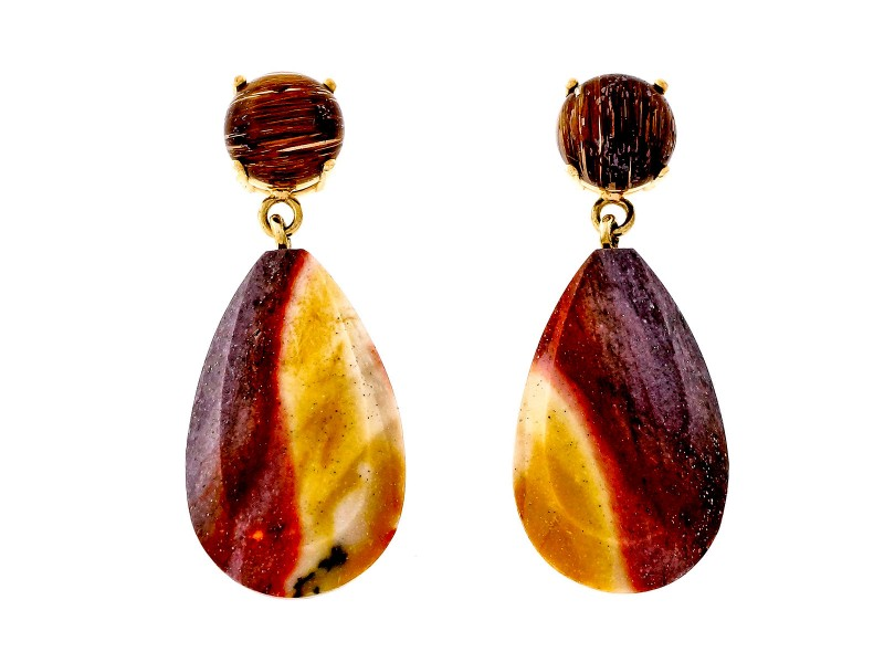 Peter Suchy 14K Yellow Gold with Rutilated Quartz Jasper Dangle Earrings