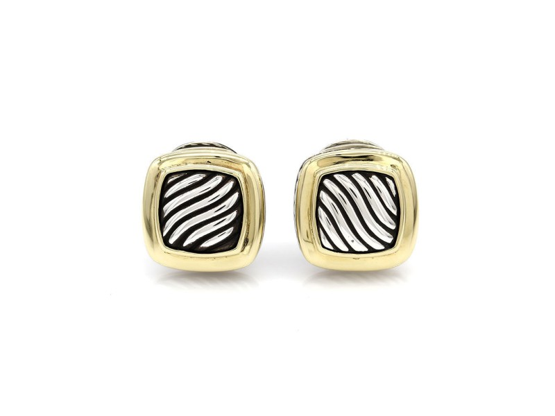 David Yurman Albion 925 Sterling Silver and 18K Yellow Gold Earrings