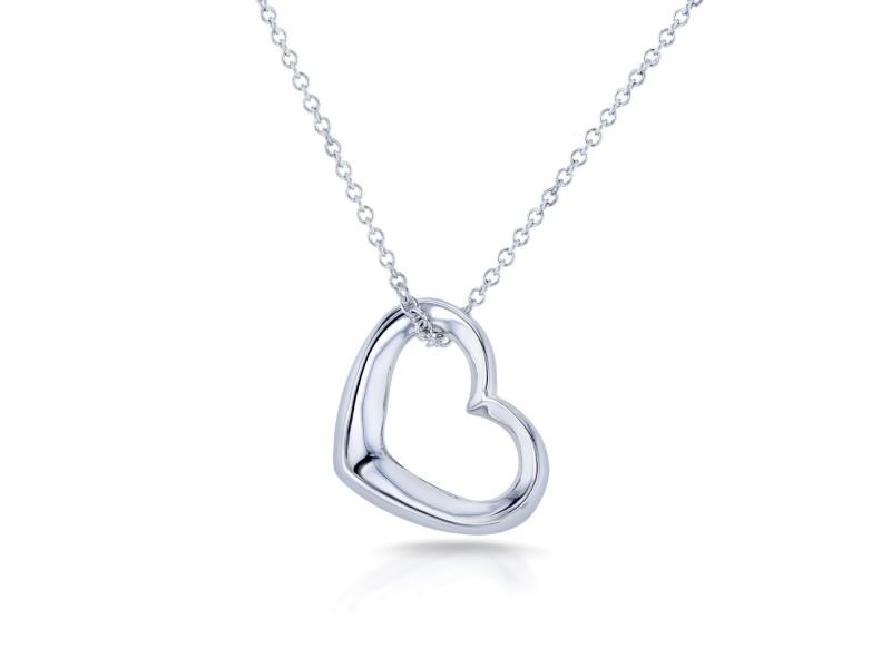 14k White Gold Heart Hoop Pendant Necklace