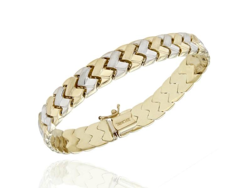 14K 2 Tone Woven Link Bracelet