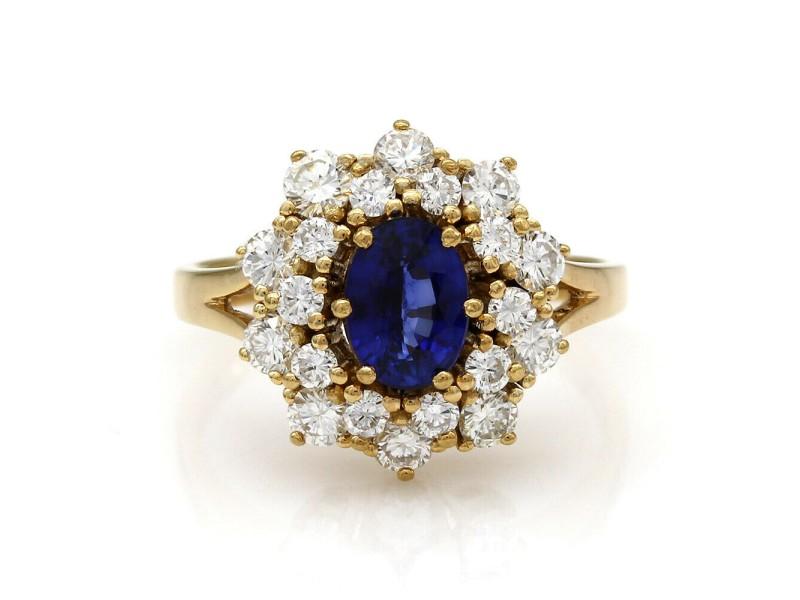 Sapphire and Diamond Halo Ring 18KY