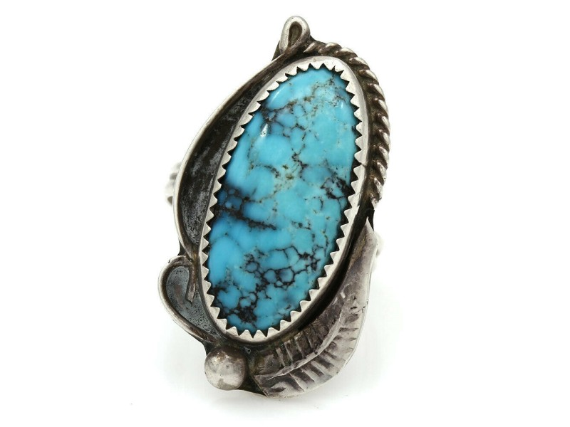 Navajo Signed CT Sterling Silver & Turquoise Ring