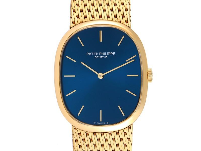 Patek Philippe Golden Ellipse 18k Yellow Gold Blue Dial Watch 3748