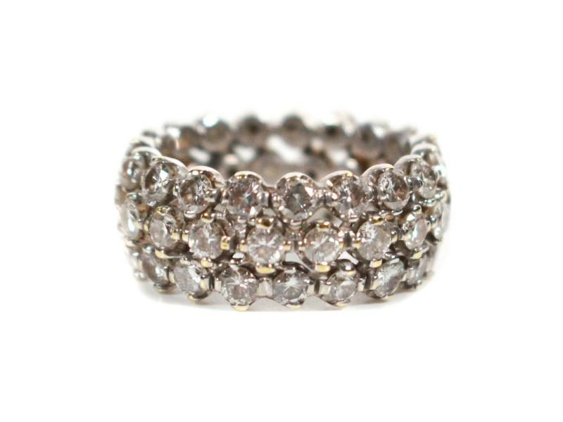 Harry Winston - 3 Row Diamond Ring - 18K White Gold Wrap Band - US 5.25