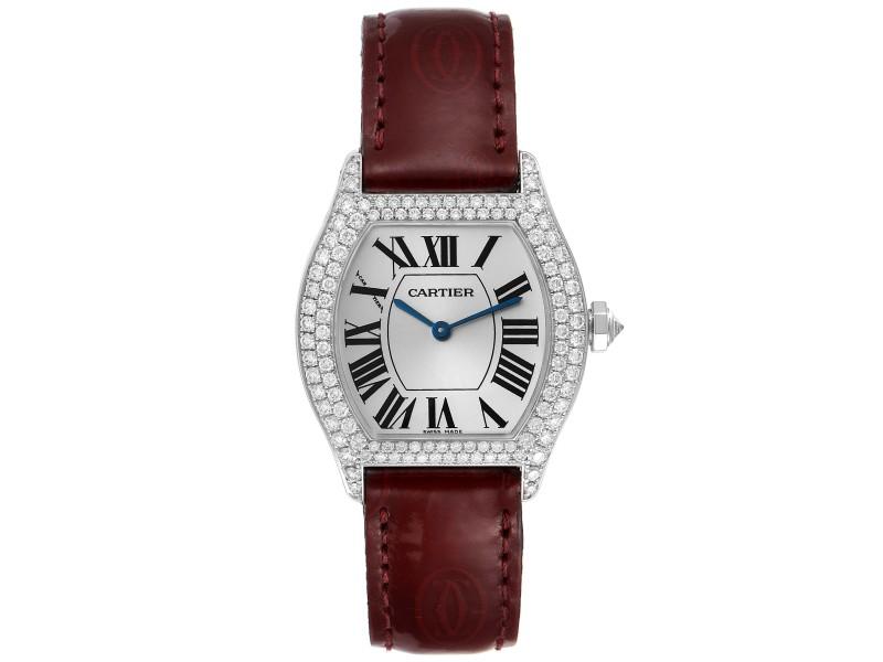 Cartier Tortue 18k White Gold Diamond Burgundy Strap Ladies Watch 2644