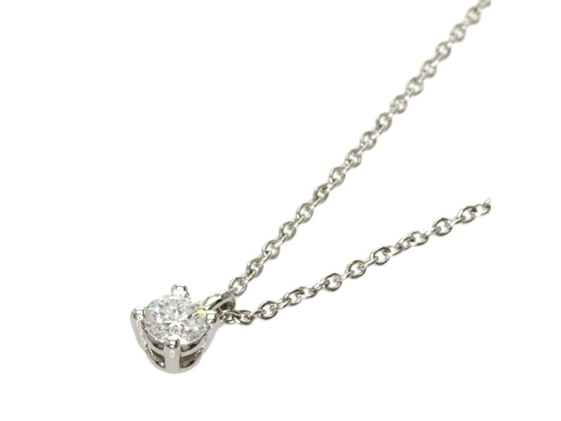 TIFFANY & Co. Diamond Platinum Solitaire Stud Necklace