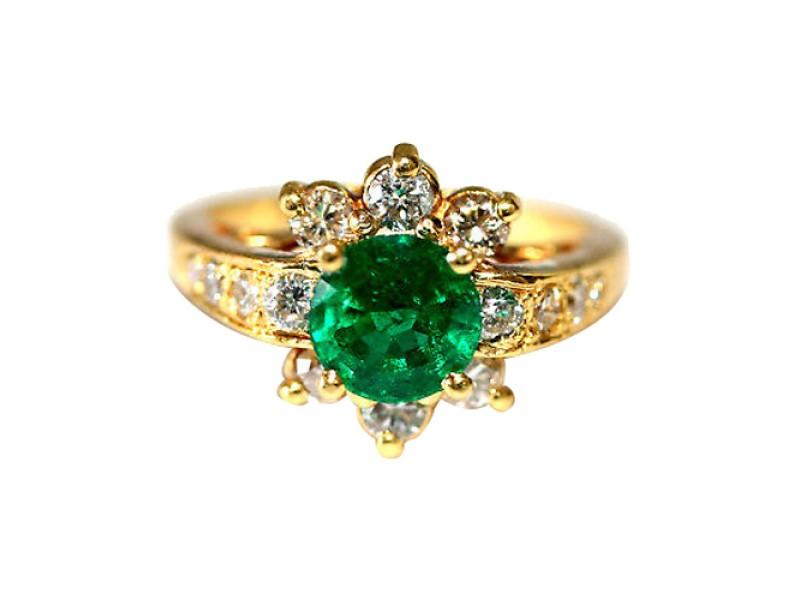 18K Yellow Gold Emerald Diamond Cocktail Ring