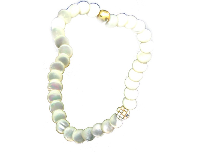 Tiffany & Co. 18K Yellow Gold Mother of Pearl Onyx Necklace
