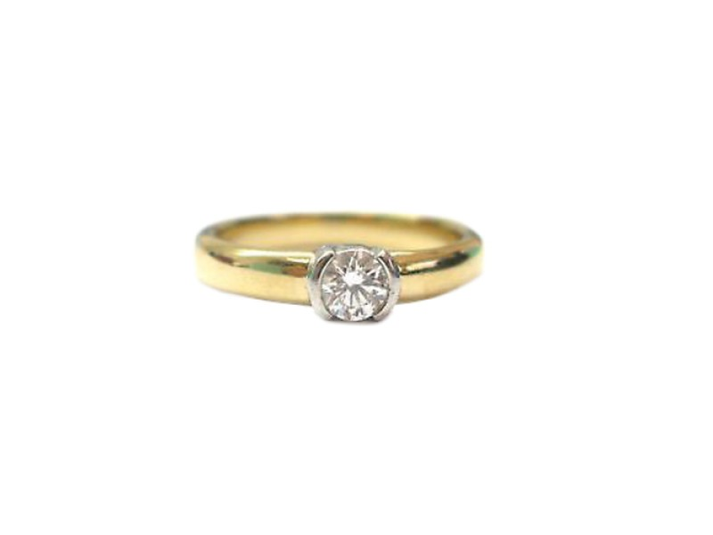 Tiffany & Co. 18K Yellow Gold Etoile Diamond Solitaire Ring