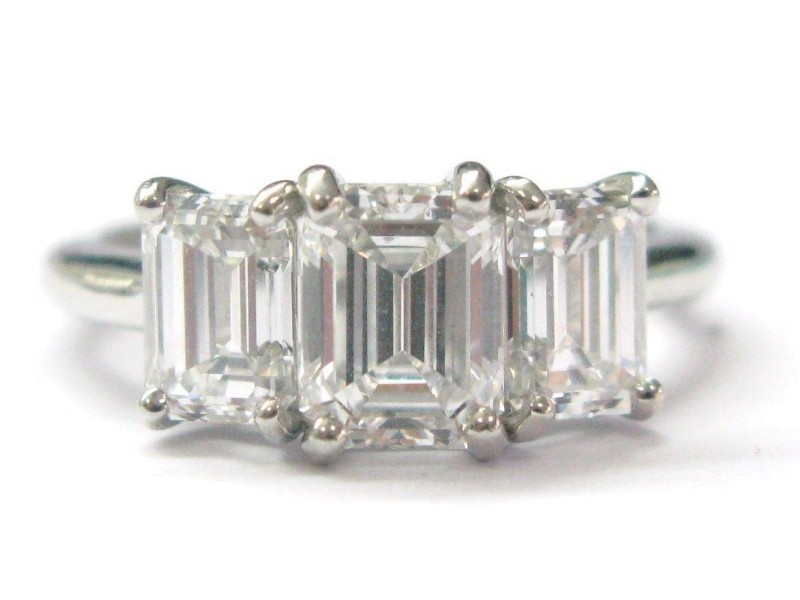 Tiffany & Co. Platinum & Emerald Cut Diamond Ring