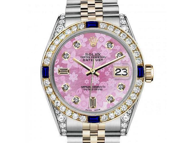 Ladies Rolex 26mm Datejust Two Tone Jubilee Pink Flower MOP Mother of Pearl Dial 8+2 Diamond Bezel + Lugs + Sapphire