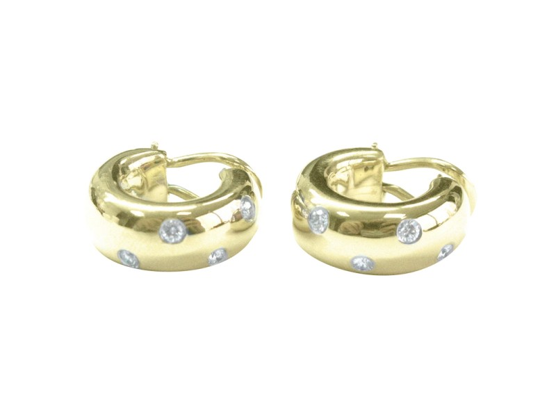 Tiffany & Co. 18K Yellow Gold and PT950 Platinum with 0.35ct Diamond Etoile Hoop Earrings