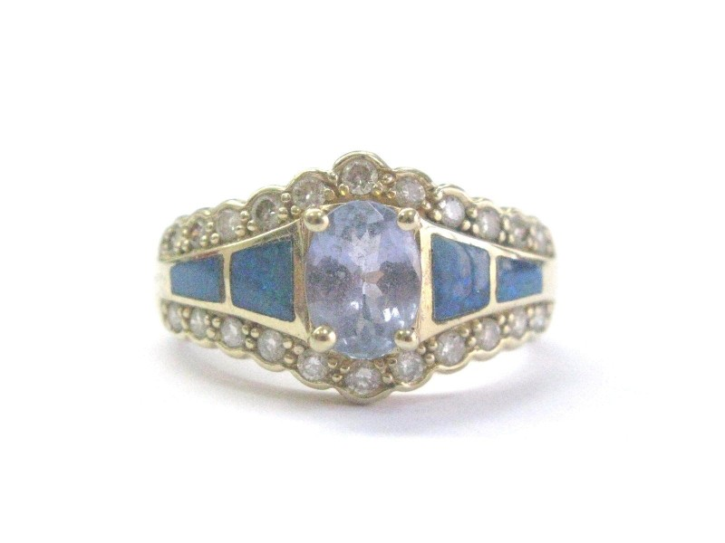 14K Yellow Gold Tanzanite Diamond & Inlay Opal Ring