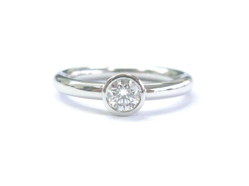Tiffany & Co. Platinum Diamond Solitaire Bezet Set Engagement Ring