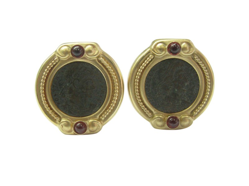 14K Yellow Gold Ancient Coins Garnet Clip-On Earrings