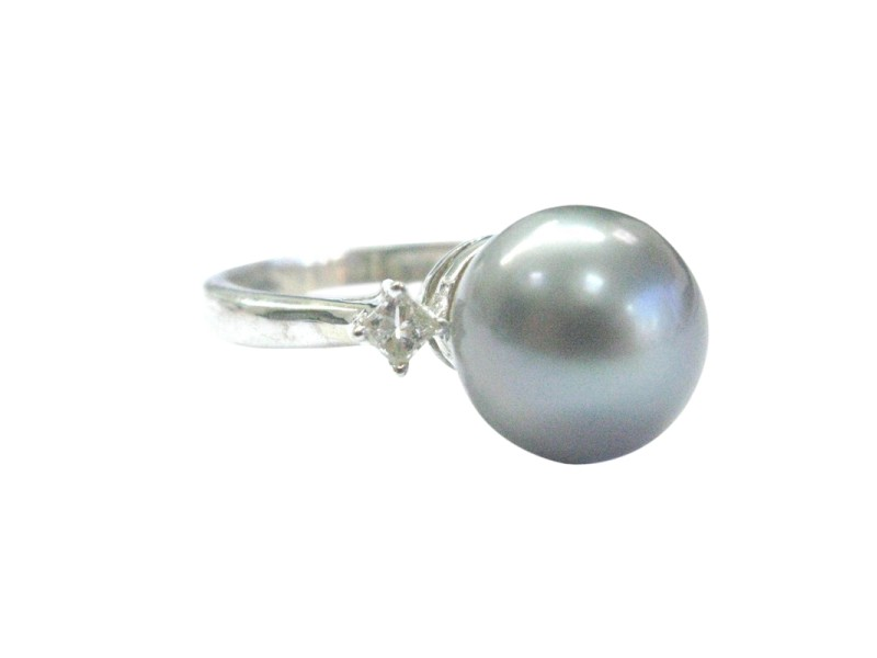 14K White Gold Cultured Pearl, Diamond Ring Size 6