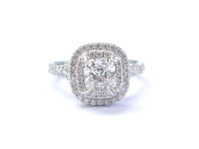Tiffany & Co Platinum Cushion Cut Diamond Soleste Engagement Ring