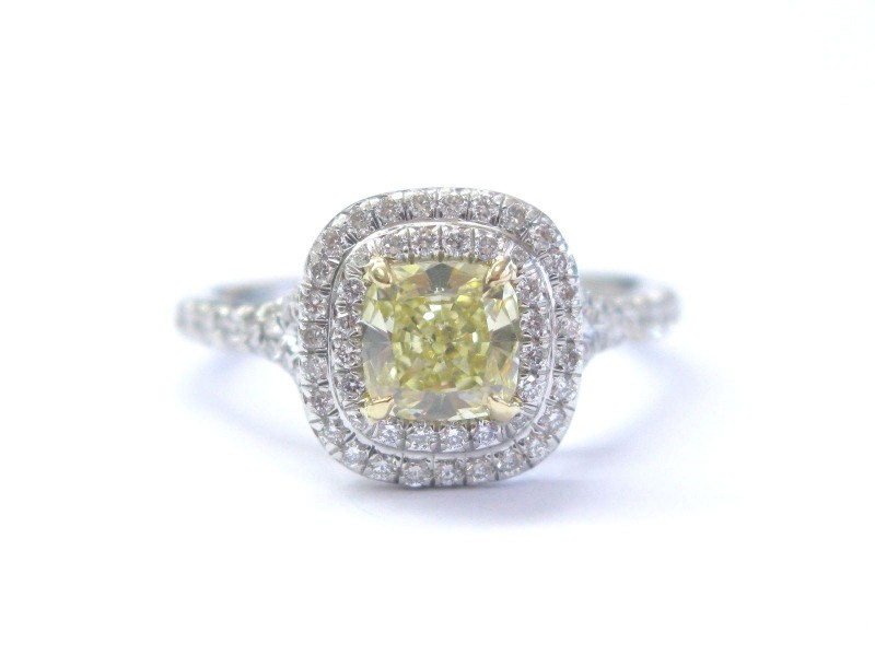 Tiffany & Co Plat Cushion Fancy Intense Yellow Diamond Soleste Ring