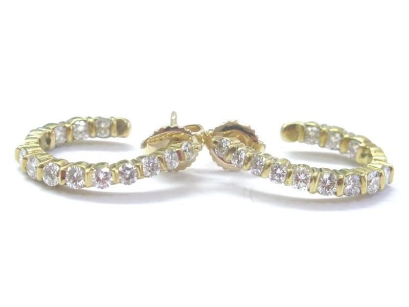 18K Diamond Yellow Gold Hoop Earrings