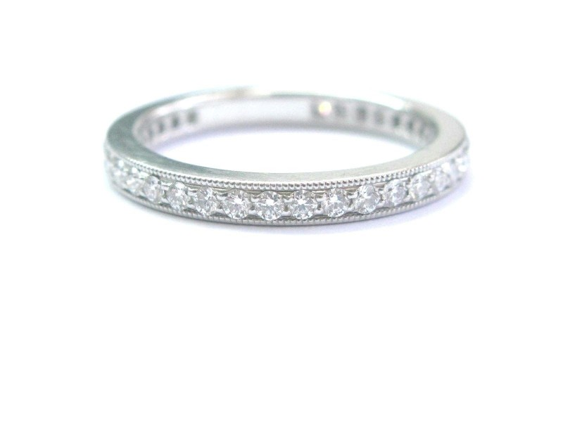 Tiffany & Co Platinum Legacy Diamond Milgrain Band Ring