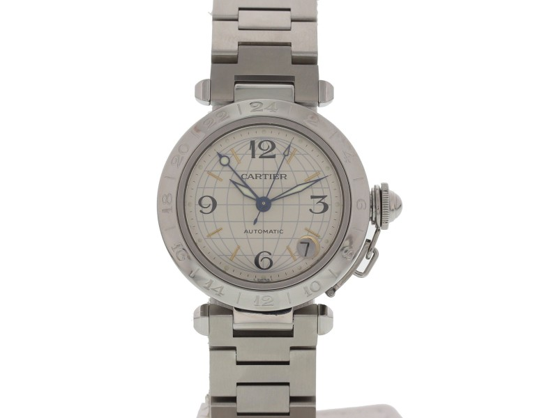 Cartier Pasha 2377 GMT Automatic Stainless Steel Mens Watch