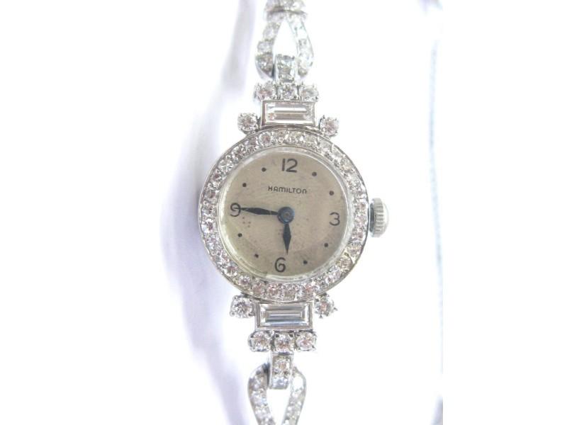 Hamilton Round & Baguette 4.00Ct Diamond Platinum Vintage Watch