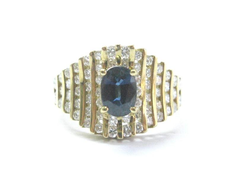 14K Yellow Gold Gem Blue Sapphire Diamond Ring