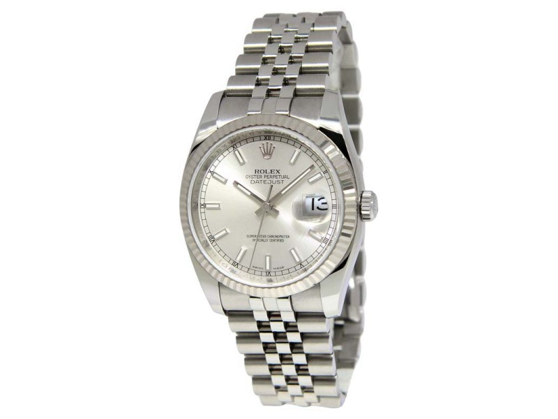 Rolex Datejust 116234 Stainless Steel 18K White Gold Silver Dial Mens Watch