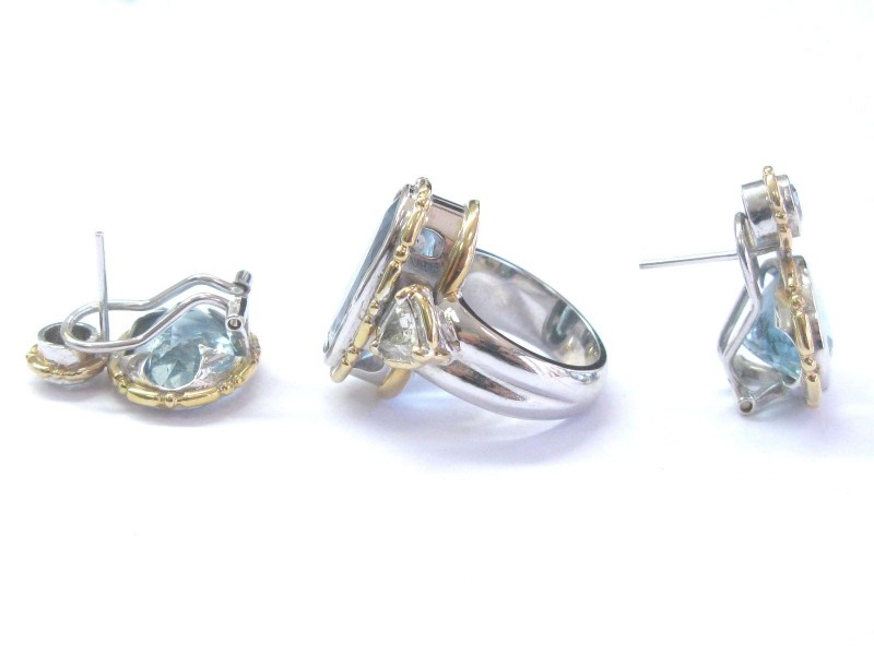 Others Aquamarine, Diamond Womens Earrings Size 5.5