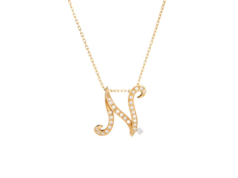 18K Yellow Gold with 0.62ctw. Diamond Vintage Letter N Initial Pendant Necklace