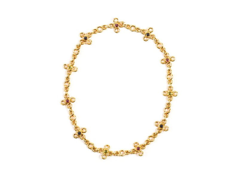 Chanel 18K Yellow Gold Multicolor Cabochon Gemstone Vintage Necklace