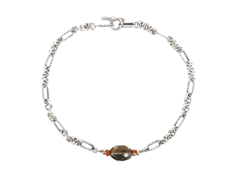 David Yurman Figaro Sterling Silver 18K Yellow Gold Smoky Quartz Carnelian Necklace