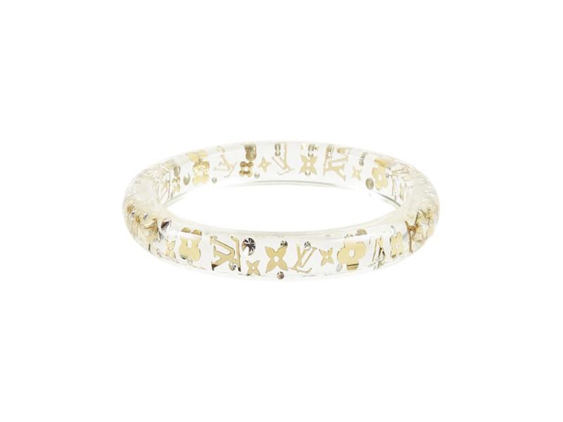 Louis Vuitton Inclusion Gold Tone Crystal Clear Bracelet