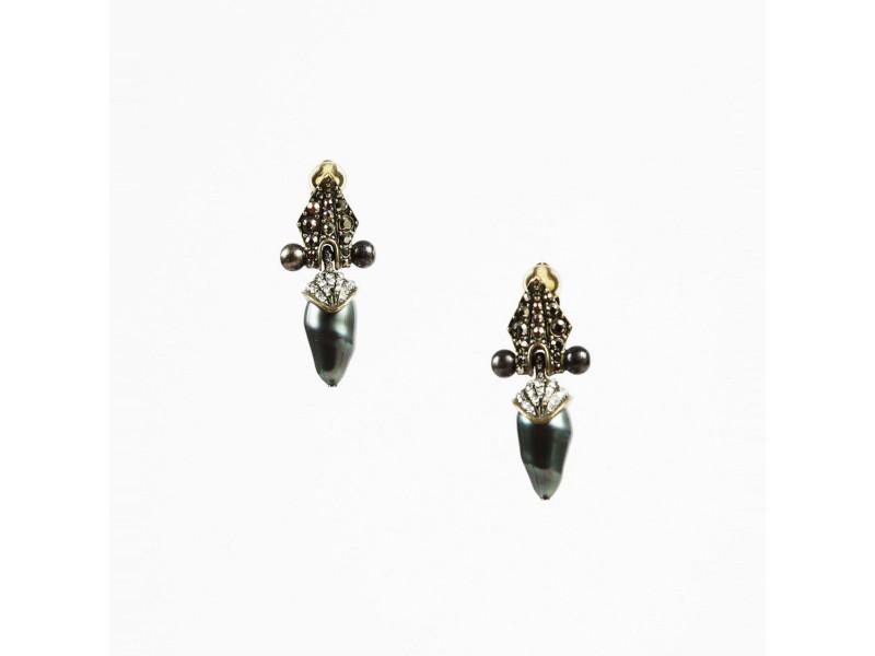 Lanvin Marcasite Pearl Earrings