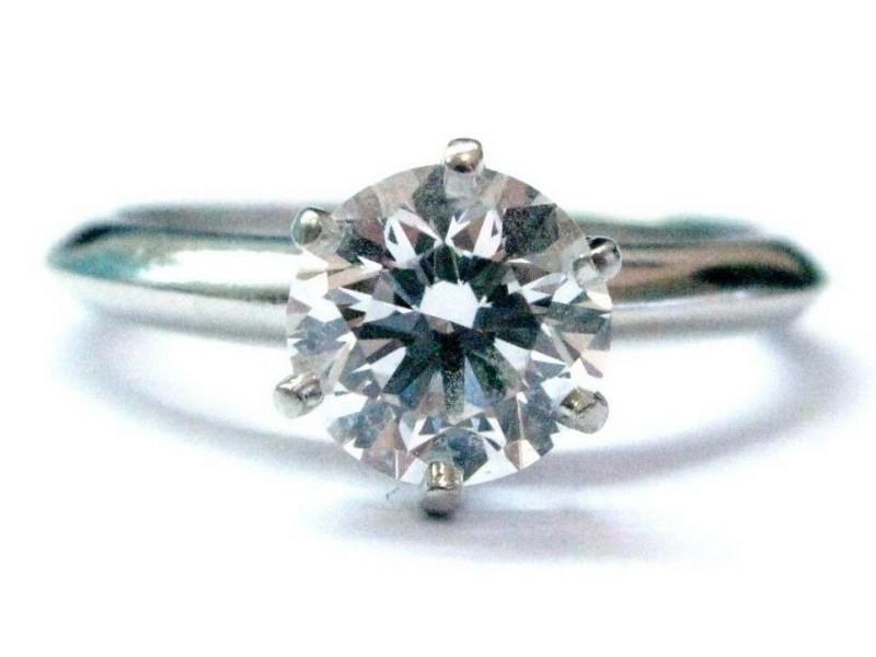 Tiffany & Co Platinum Round Diamond Solitaire Engagement Ring 1.28CT D-VS1