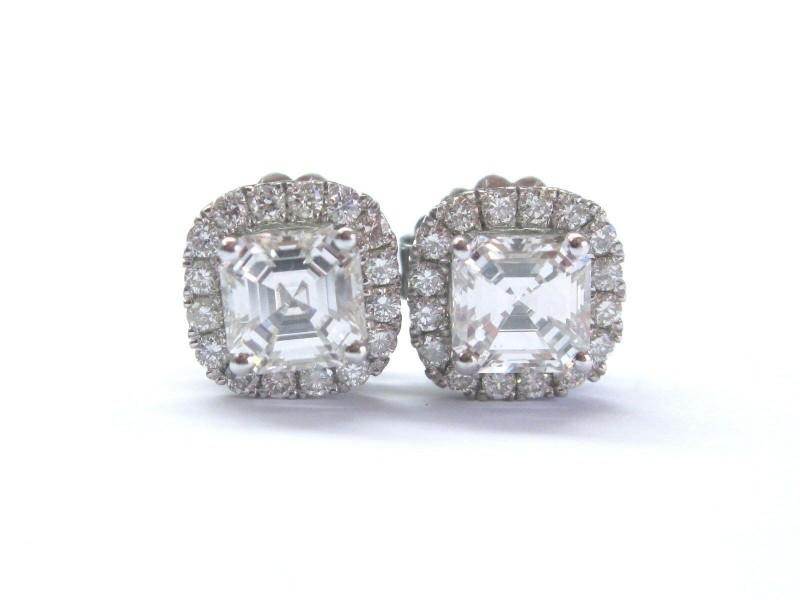 Asscher & Round Diamond Halo Stud Earrings Solid White Gold 18Kt 2.47Ct EGLUSA
