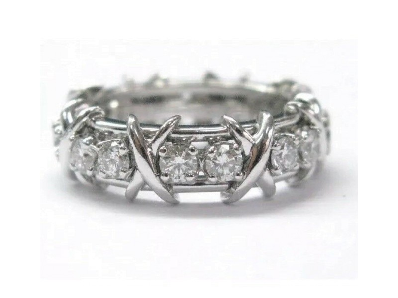 Tiffany & Co Platinum Jean Schlumberger 16 Stone Diamond Ring Size 6.5