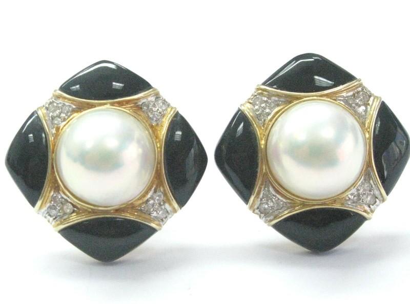 Fine Mabe Pearls Onyx Diamodn Yellow Gold Earrings 10MM .24CT