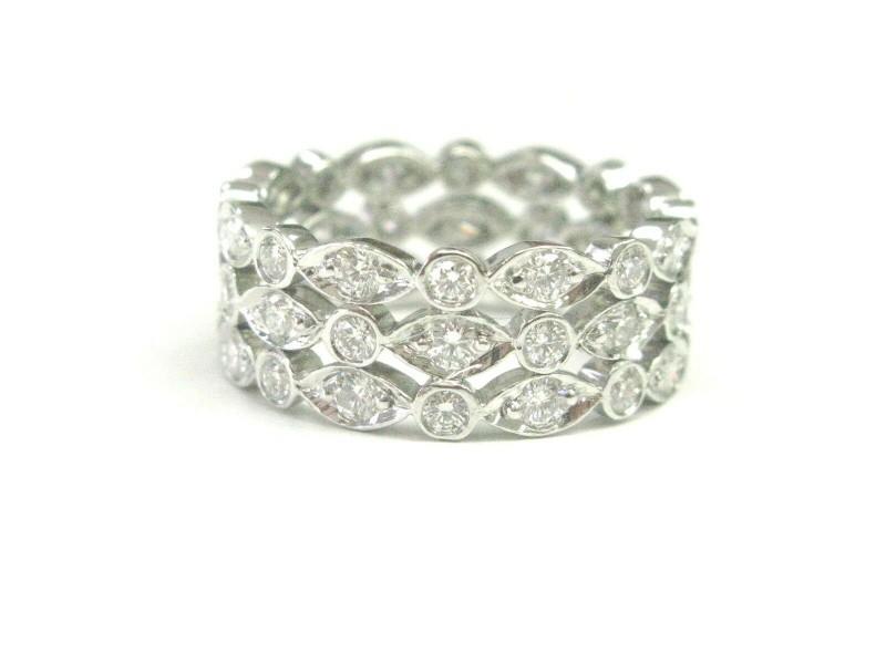 Tiffany & Co Swing Three-Row Diamond Ring Platinum 950 Size 5 1.40Ct
