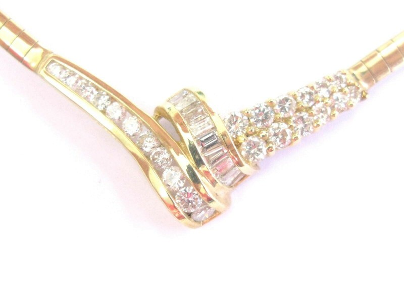 """Fine Round & Baguette Diamond Yellow Gold Cluster Necklace 2.06Ct 17"""" 14KT"""