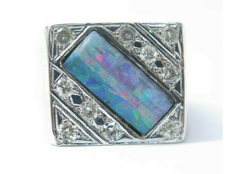BIG Square Opal Diamond Solid White Gold Jewelry Ring 14Kt .60Ct Sizeable
