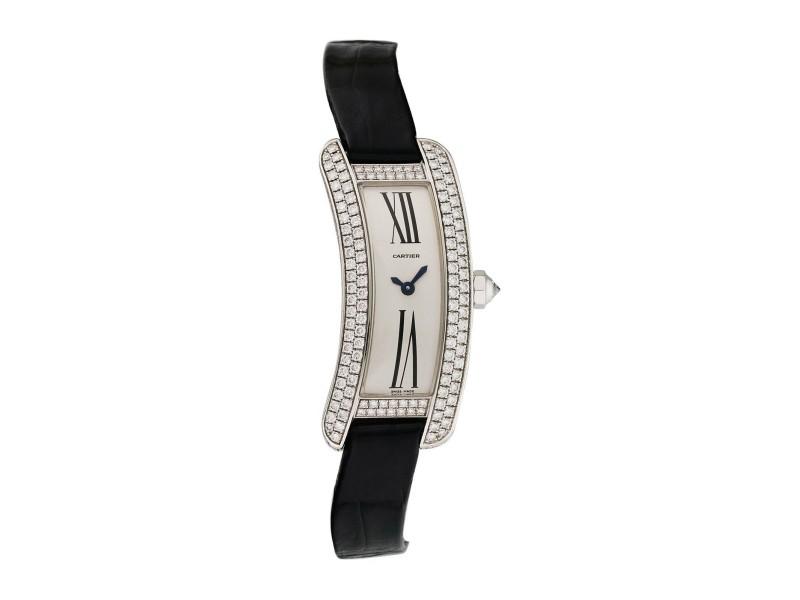 Cartier Tank S Americaine 2625 White Gold Diamond Ladies Watch
