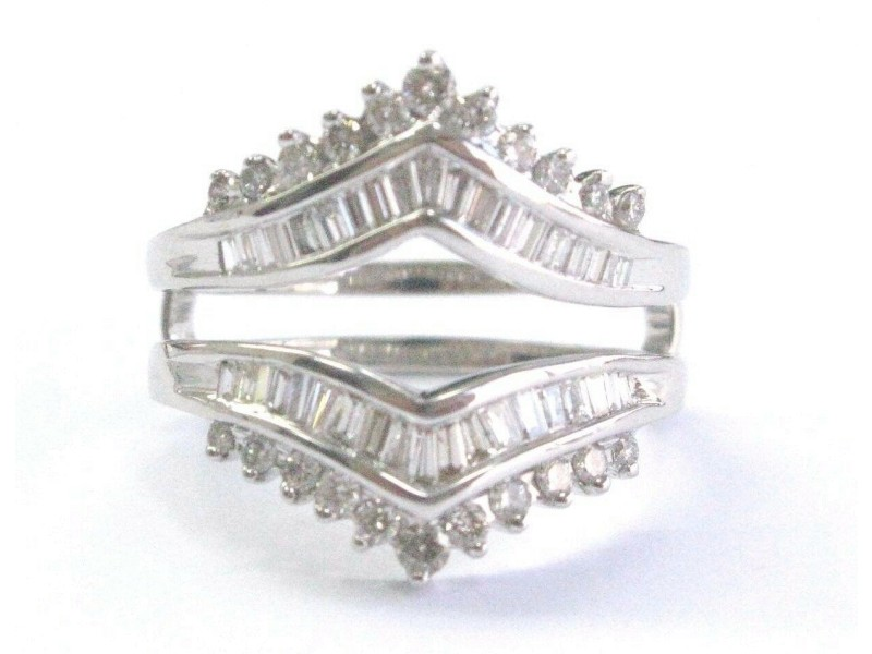 Round & Baguette Diamond White Gold Jacket Ring 14KT 1.50Ct SIZEABLE