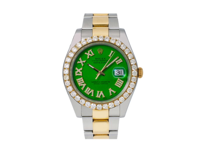 ROLEX DATEJUST II, 116333 41MM, GREEN DIAMOND DIAL WITH TWO TONE OYSTER BRACELET