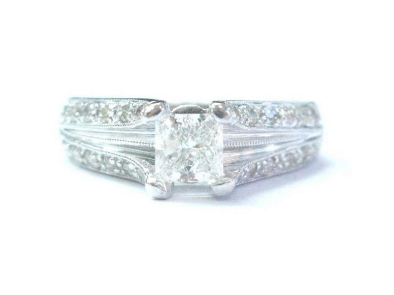 Fine Princess & Round Cut Diamond Split Shank WG Engagement Ring 1.12Ct EGL