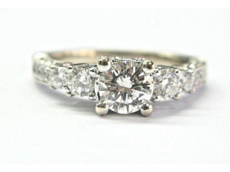 Natural Round Diamond White Gold Milgrain Engagement Ring 1.47Ct 14KT