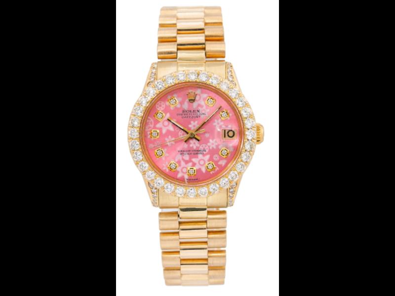 ROLEX YELLOW GOLD PRESIDENT DATEJUST 6627 31MM PINK DIAMOND DIAL  DIAMOND BEZEL