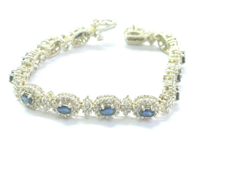 "Ceylon Sapphire & Diamond Tennis Bracelet 14KT Yellow Gold 6.5"" 5.60Ct"