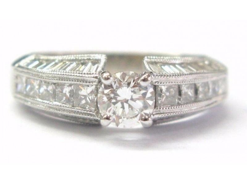 Fine Round & Baguette Shape Diamond Engagement Ring White Gold 1.70CT